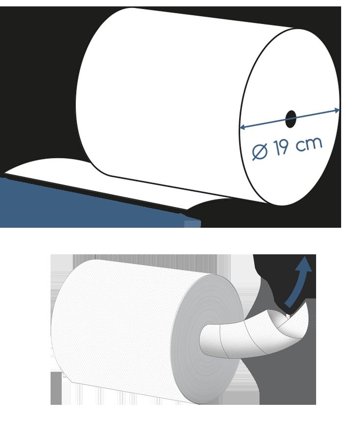 Abmessungen Handtuchrolle 2 lagig blau ohne Hülse 143m Innenauszug