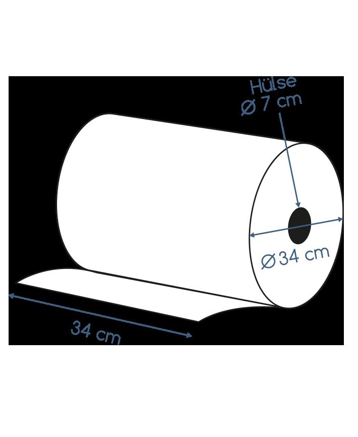 Putzpapierrollen blau 3 lagig recycling 34 x 34 cm Abmessungen Kartonversand
