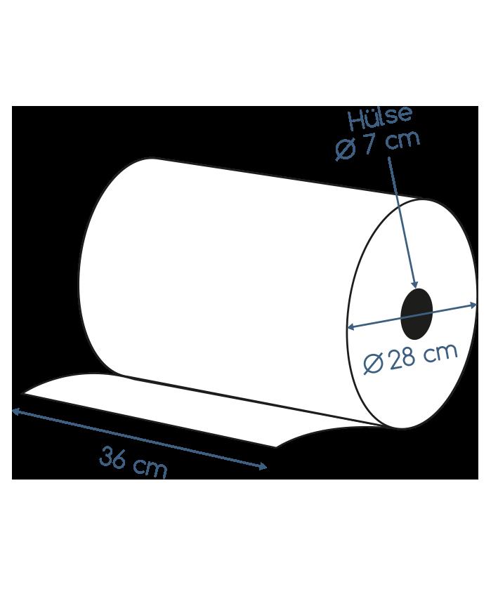 Abmessungen Putztuchrolle blau 2 lagig Zellstoff Musterversand