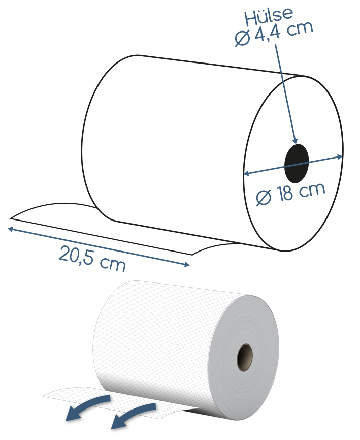 Abmessungen Handtuchrolle 2 lagig 20,5cm Breite 130m Zellstoff # 3000 Muster