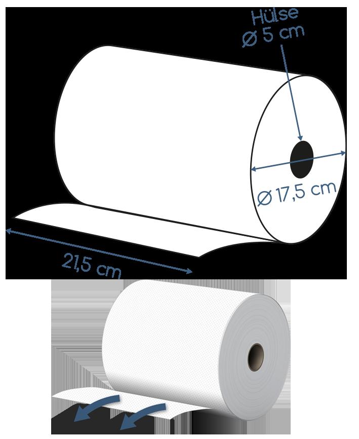 Abmessungen Handtuchrolle 2 lagig 21,5cm Breite 120m 18 Rollen Kartonversand