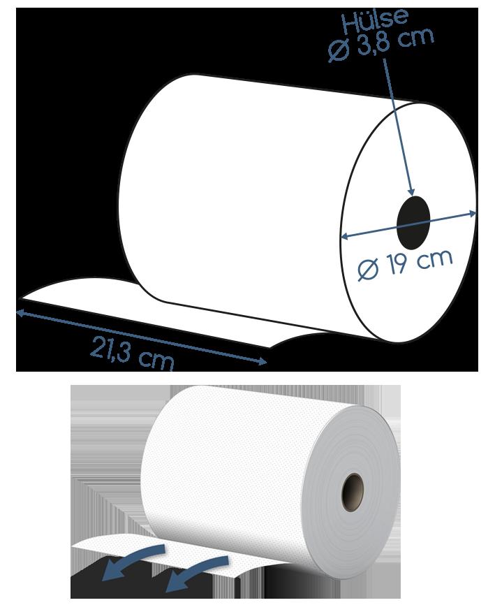 Abmessungen Handtuchrolle 2 lagig Zellstoff 120m # 10000