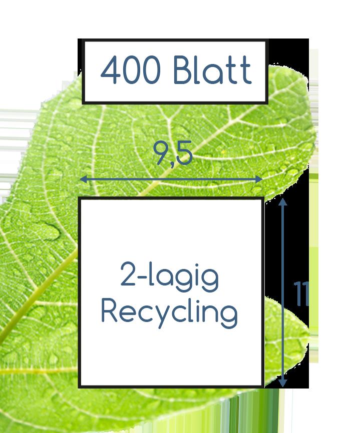 Abmessungen Toilettenpapier 2 lagig recycling 400 Blatt