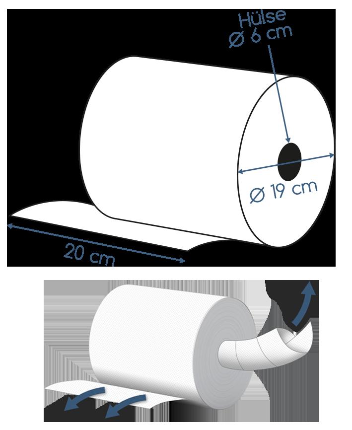 Abmessungen Handtuchrolle 2 lagig 100m